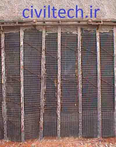 جداره های مهاربندی شده توسط المانهای کششی:   Soldier beam& lagging