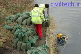 بتن ریزی زیر آب با کیسه bag work