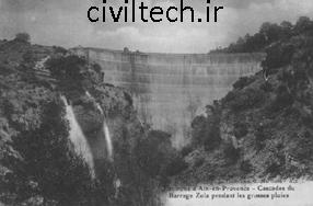 اولین سد قوسی بتنی در جهان سد زولا در فرانسه