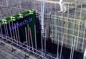 نمایی از آرماتور بندی سقف و دیوار به صورت کلاف