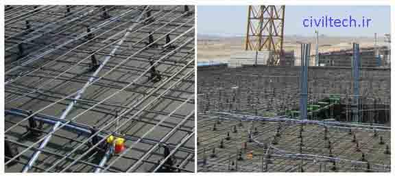 لوله های برق در آرماتور سقف قالب تونلی