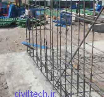 قرار دادن میلگرد های افقی و عمودی و ایجاد شبکه آرماتور دیوارها