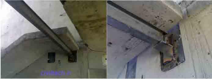 اتصال پله ها به صفحات نصب که از قبل درون بتن قرار گرفته بود