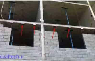 قرار گیری نبشی های اتصال در دیوار های خارجی